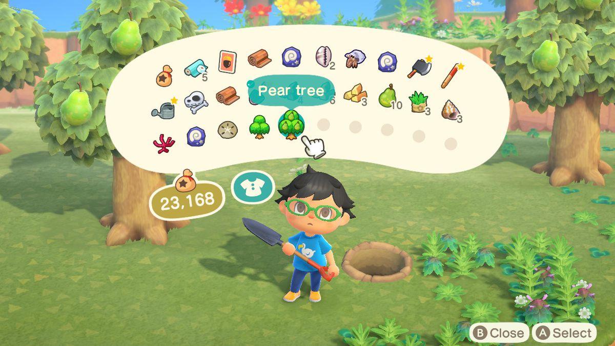 Un residente mira los árboles en su inventario en Animal Crossing: New Horizons