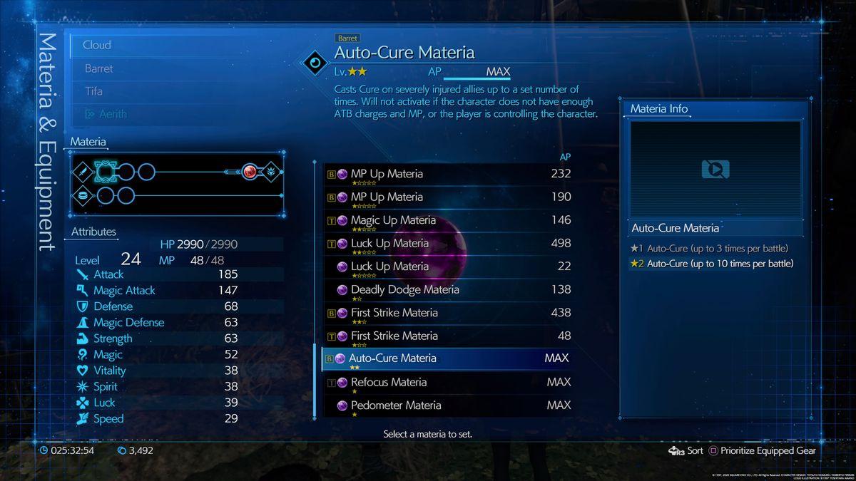 La pantalla de información de la historia de Auto-Cure en Final Fantasy 7 Remake