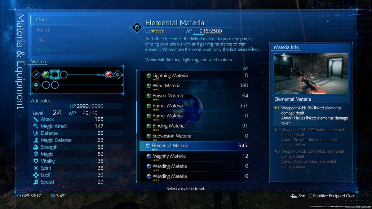 La pantalla de información de materia elemental en Final Fantasy 7 Remake