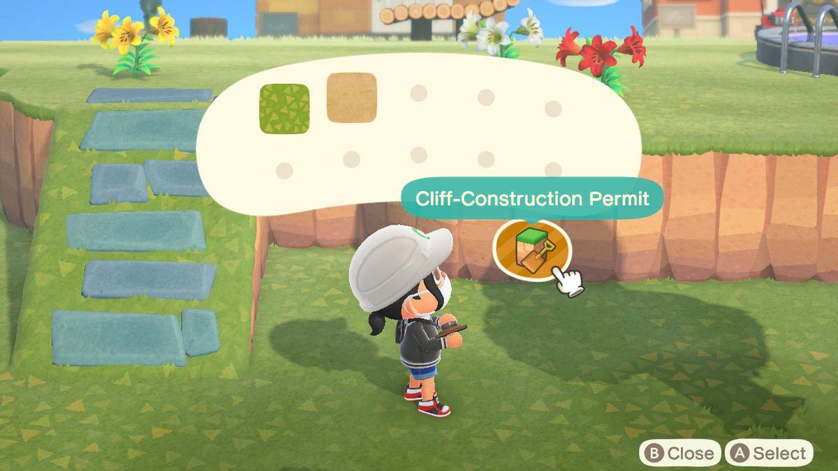 Un personaje de Animal Crossing reflexiona sobre si trabajar en la construcción de un camino o un acantilado