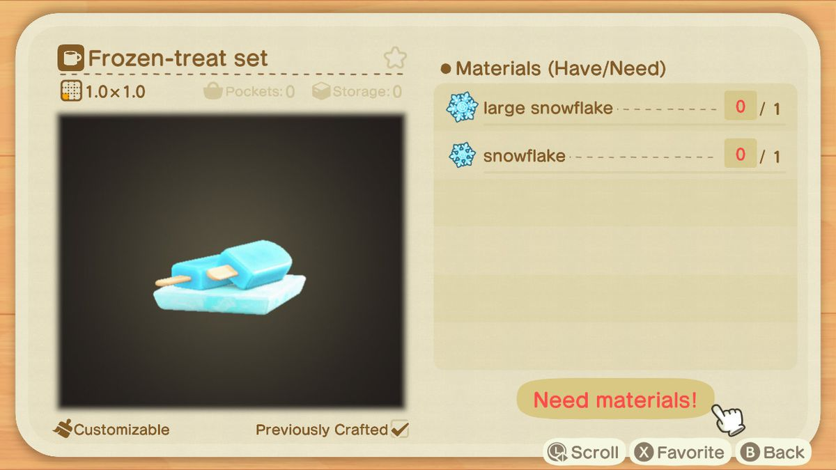 Una receta de Animal Crossing para un conjunto de golosinas congeladas