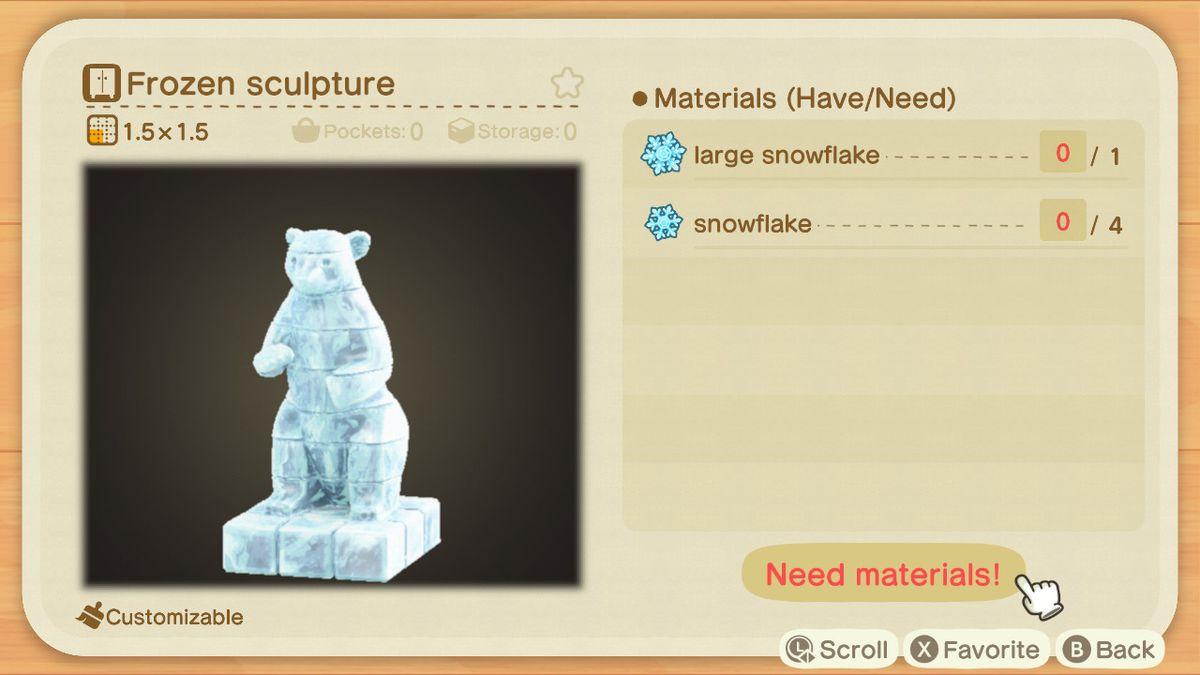 Una receta de Animal Crossing para una escultura congelada