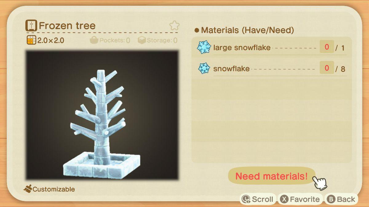 Una receta de Animal Crossing para un árbol congelado