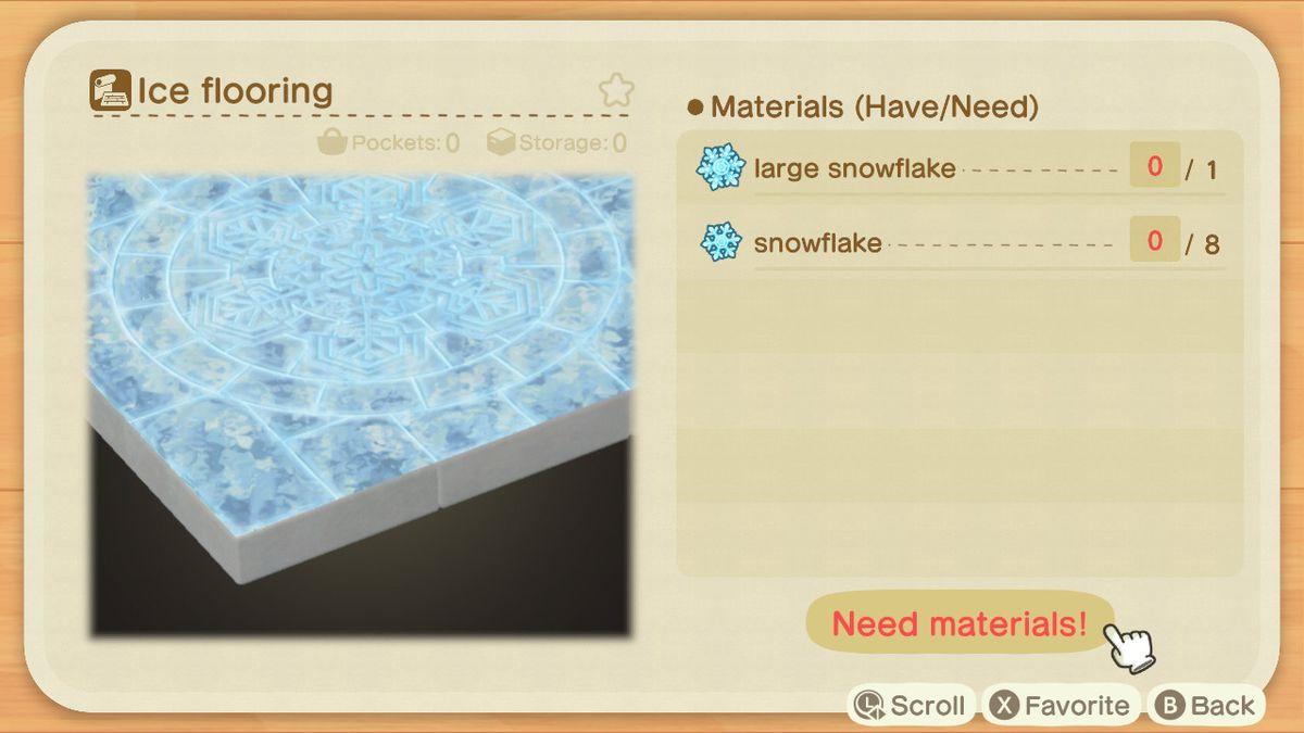 Una receta de Animal Crossing para un piso de hielo