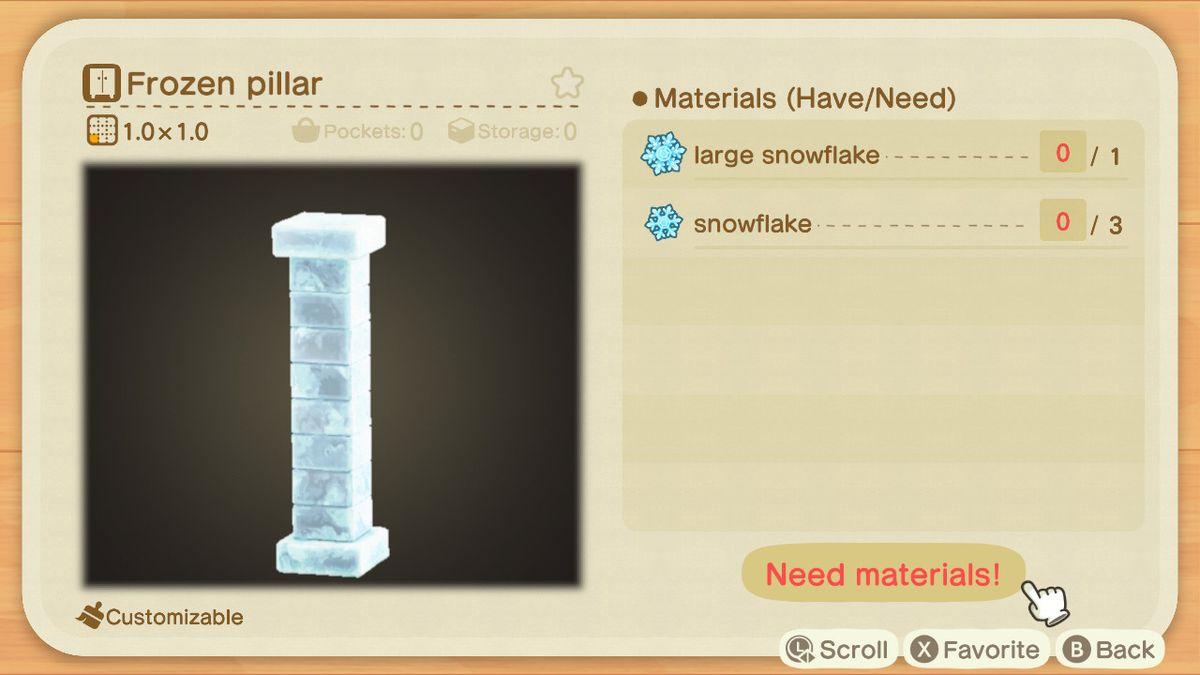 Una receta de Animal Crossing para un pilar congelado