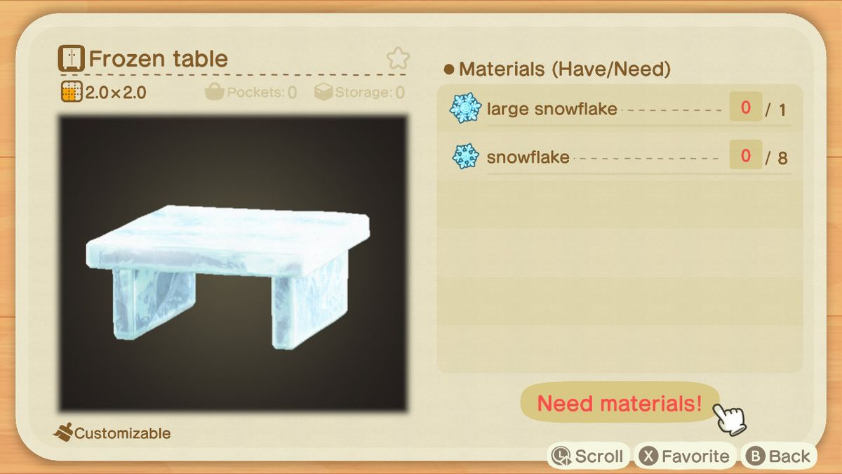 Una receta de Animal Crossing para una mesa congelada