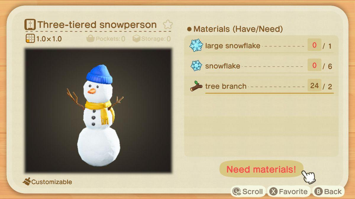 Una receta de Animal Crossing para un muñeco de nieve de tres niveles