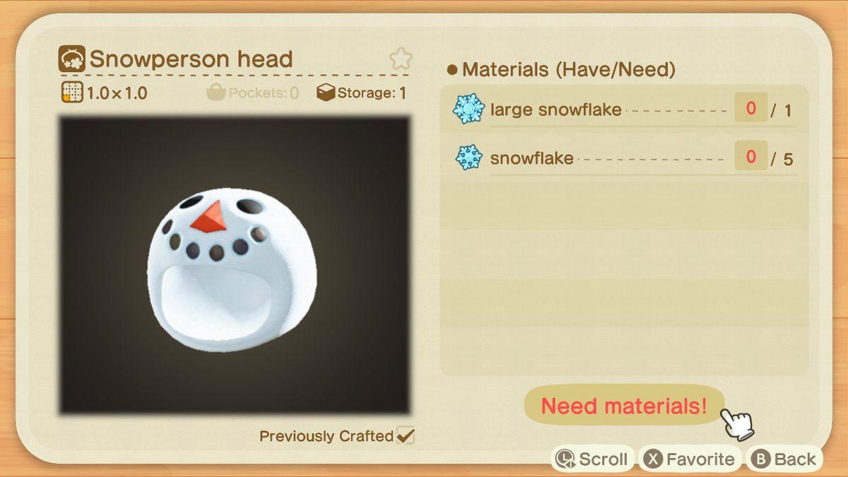 Una receta de Animal Crossing para una cabeza de muñeco de nieve