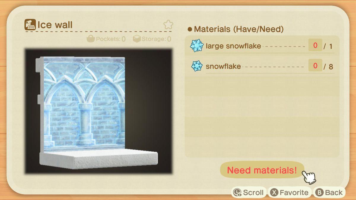 Una receta de Animal Crossing para una pared de hielo