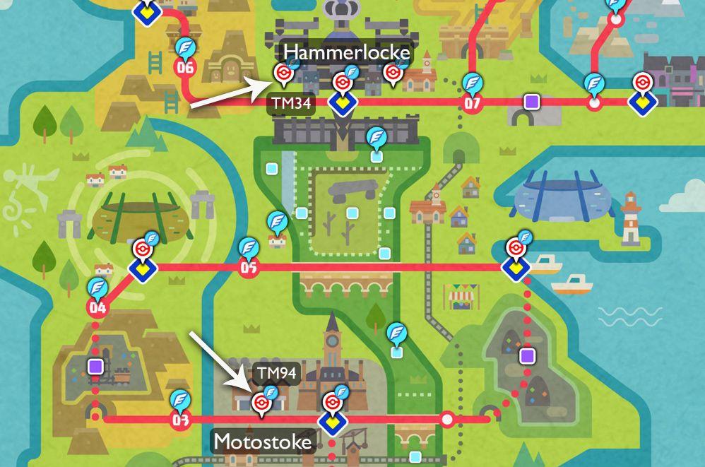 Un mapa muestra dónde encontrar TM94 y TM34 en la región de Galar