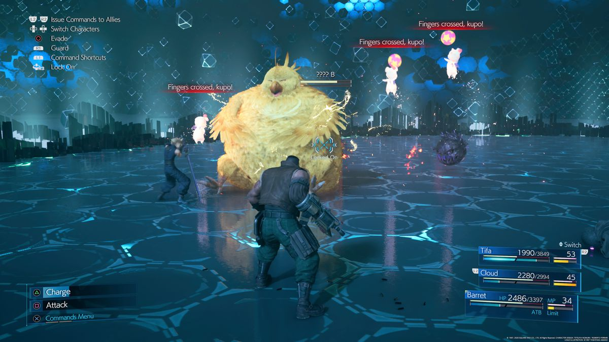 Barrett se enfrenta a Fat Chocobo en Final Fantasy 7 Remake