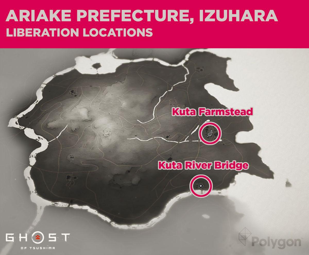 Prefectura de Ariake en Ghost of Tsushima y áreas que deben limpiarse, incluidas: Kuta Farmstead y Kuta River Bridge.