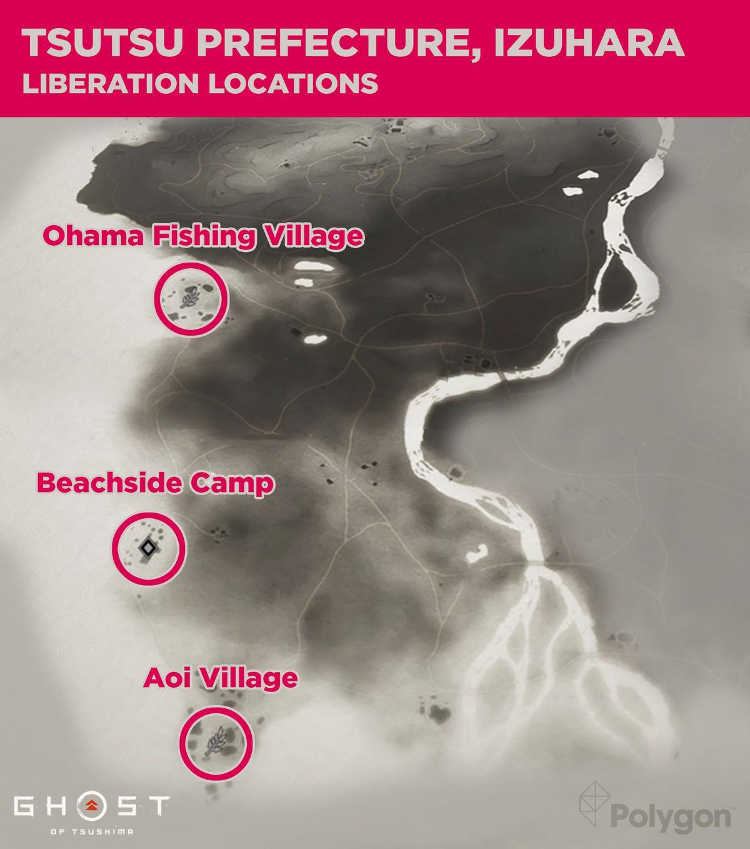 Prefectura de Tsutsu en Ghost of Tsushima y áreas que necesitan ser limpiadas, incluyendo: Aoi Village, Beachside Camp y Ohama Fishing Village.