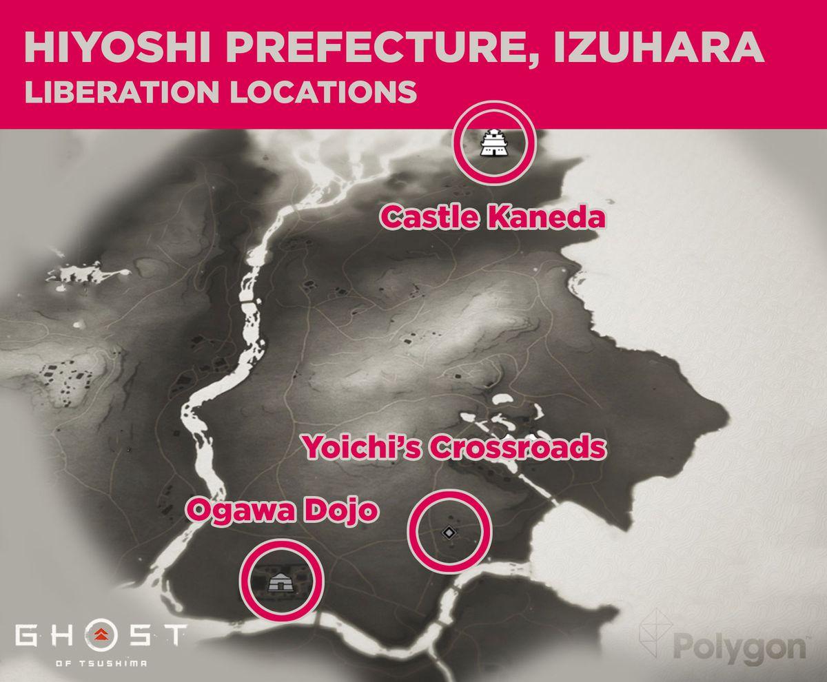 La prefectura de Hiyoshi en Ghost of Tsushima y sus áreas que necesitan ser liberadas, que incluyen: Ogawa Dojo, Yoichi Crossroads y Kaneda Castle.