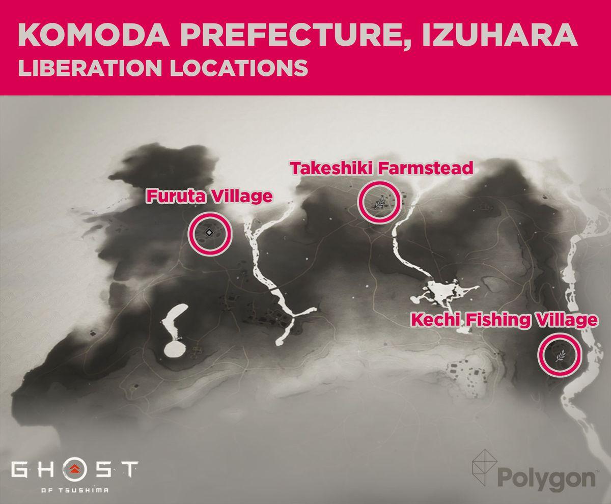 Prefectura de Komoda en Ghost of Tsushima y sus áreas que necesitan ser liberadas, incluyendo: Furuta Village, Takeshiki Farmstead y Kechi Fishing Village.