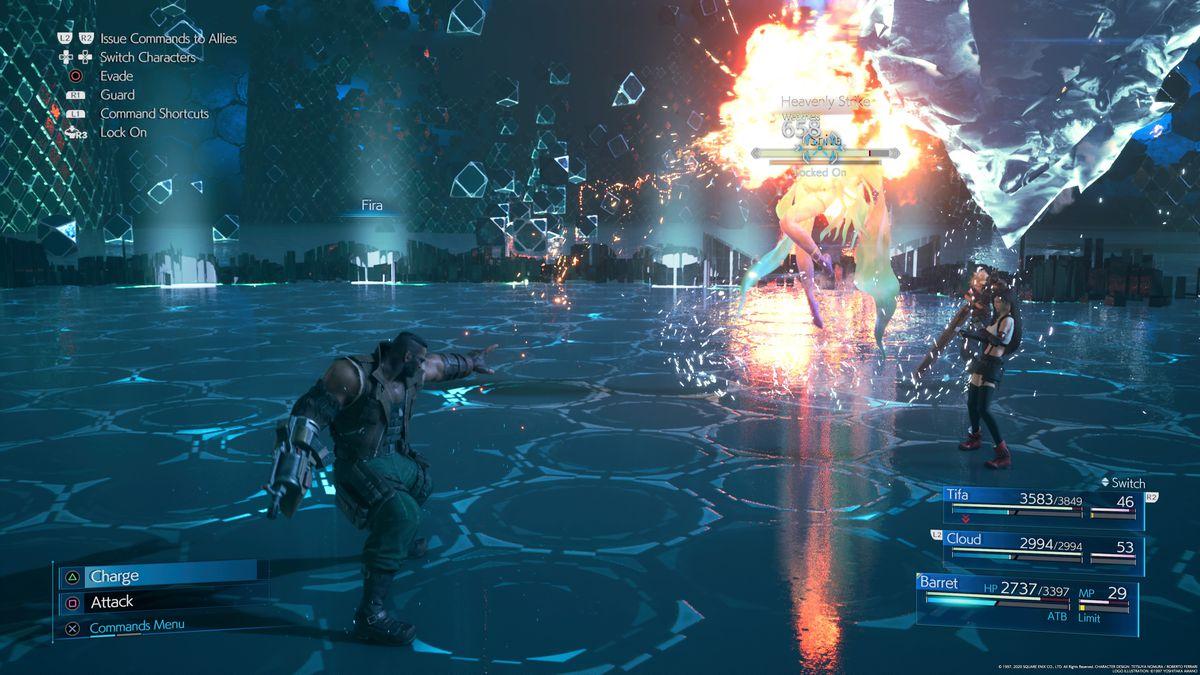 Barrett dispara a Shiva en Final Fantasy 7 Remake