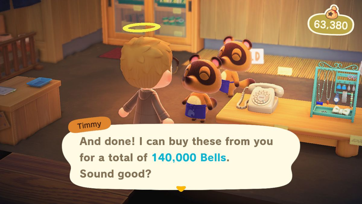 Vendiendo varios artículos interesantes en Animal Crossing New Horizons