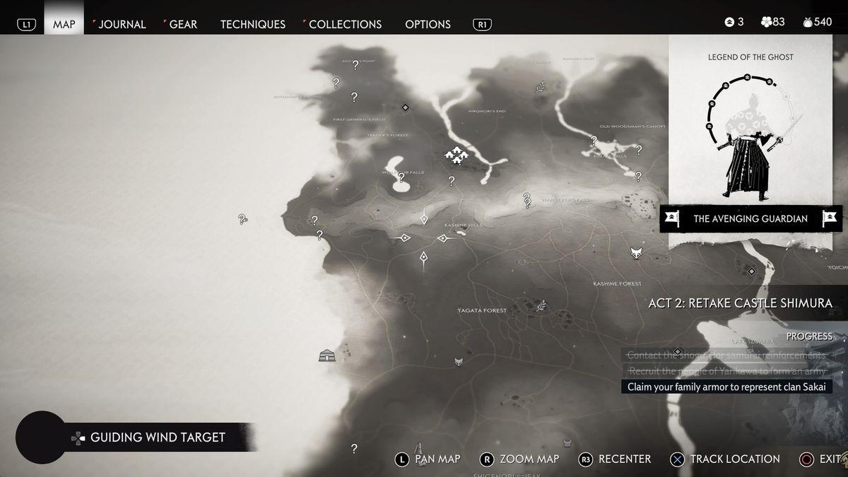 Izuhara Ghost of Tsushima mapa de ubicación sin descubrir