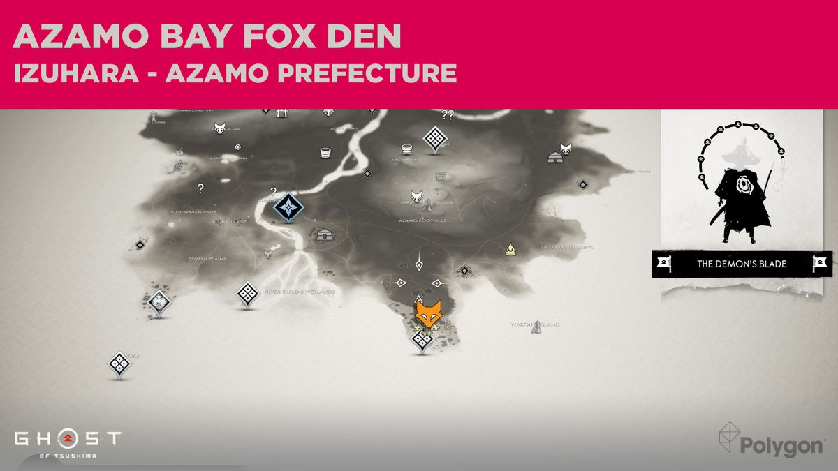 La ubicación de Fox Den en Azamo Bay en Ghost of Tsushima