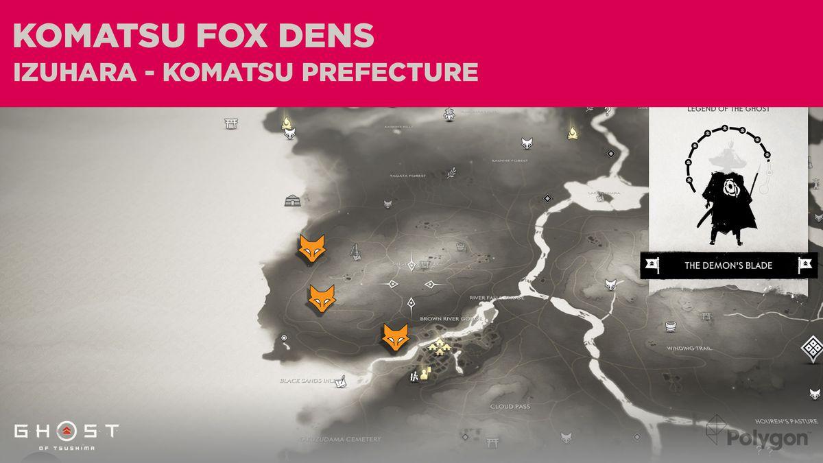 Ubicaciones de Fox Den en Komatsu en Ghost of Tsushima
