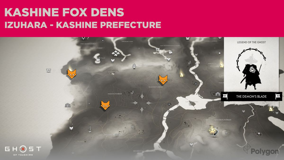 Ubicaciones de Fox Den en Kashine en Ghost of Tsushima