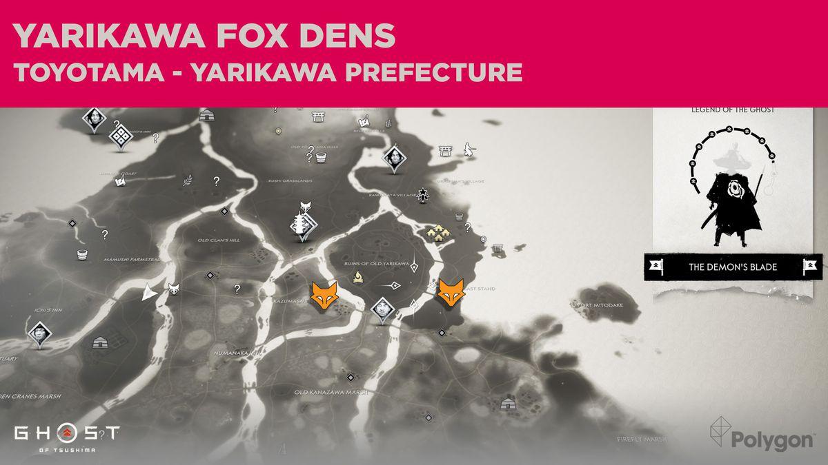 Ubicaciones de Fox Den en Yarikawa en Ghost of Tsushima