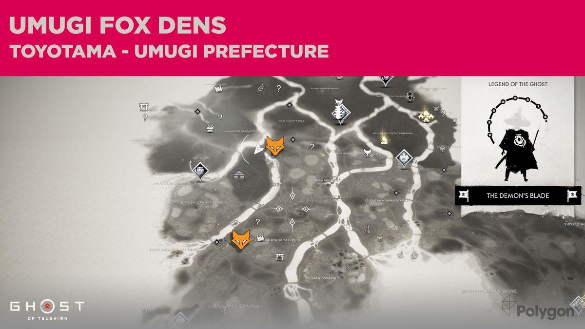 Ubicaciones de Fox Den en Umugi en Ghost of Tsushima