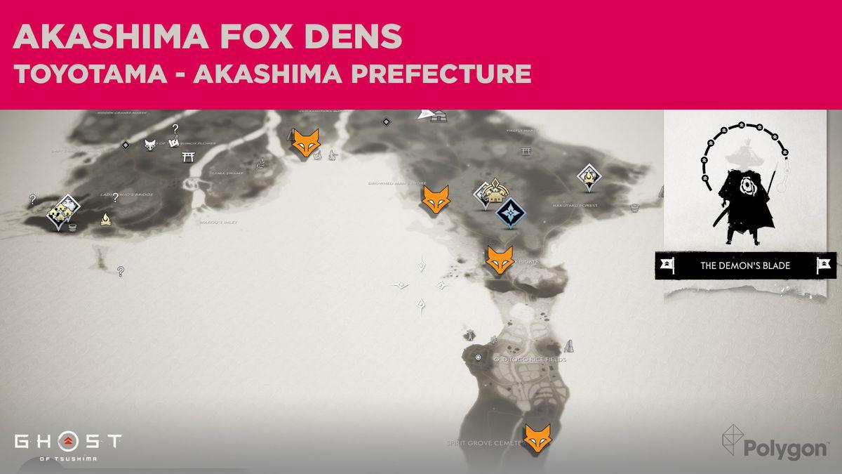 Ubicaciones de Akashima Fox Den en Ghost of Tsushima