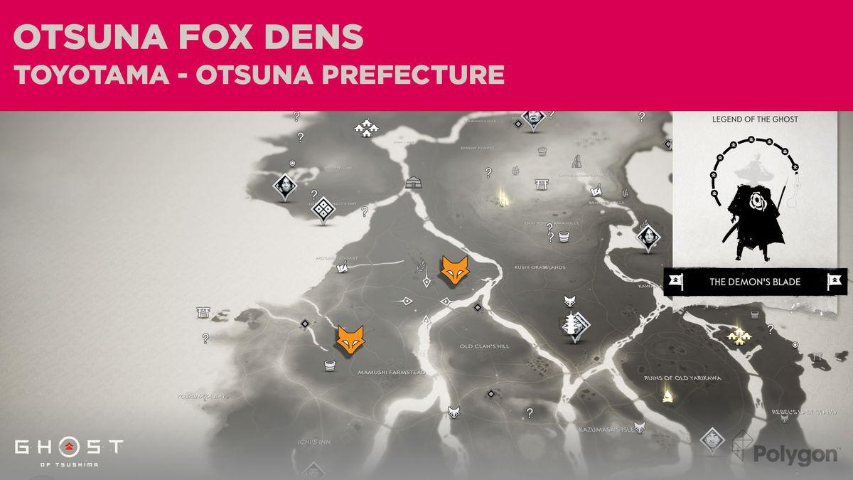 Ubicaciones de Fox Den en Otsuna en Ghost of Tsushima