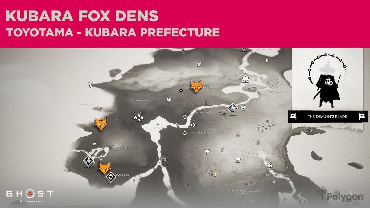 Ubicaciones de Fox Den en Kubara en Ghost of Tsushima
