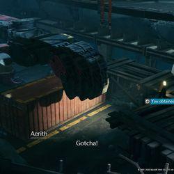 Presta atención a la advertencia y deja a Aerith en el contenedor para recoger la Materia.