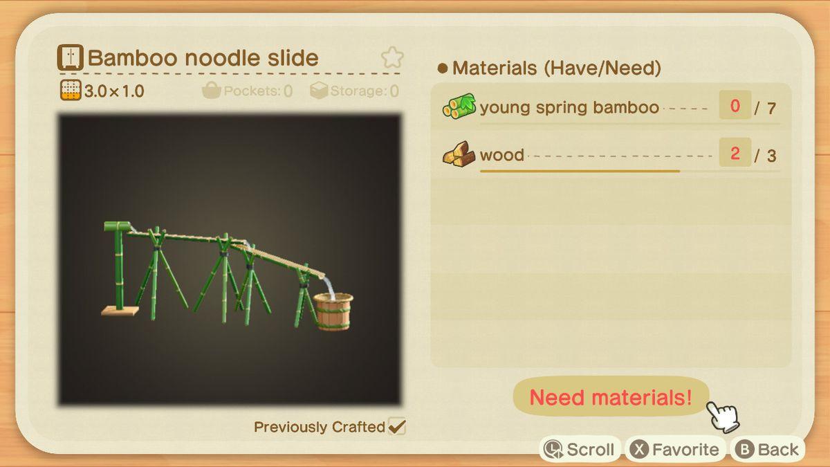 Una pantalla de creación de Animal Crossing para un tobogán de fideos de bambú