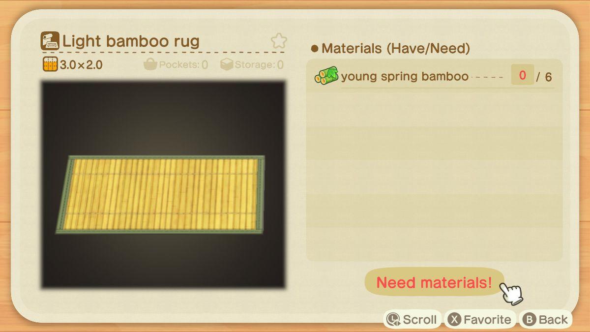 Un lienzo de reproducción de Animal Crossing para una alfombra de bambú ligera