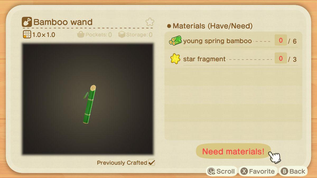 Una pantalla de creación de Animal Crossing para una varita de bambú