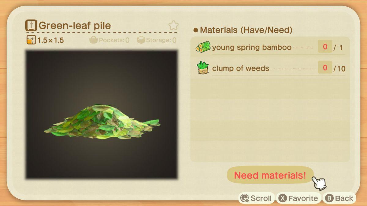 Una pantalla de cría de Animal Crossing para un montón de hojas verdes