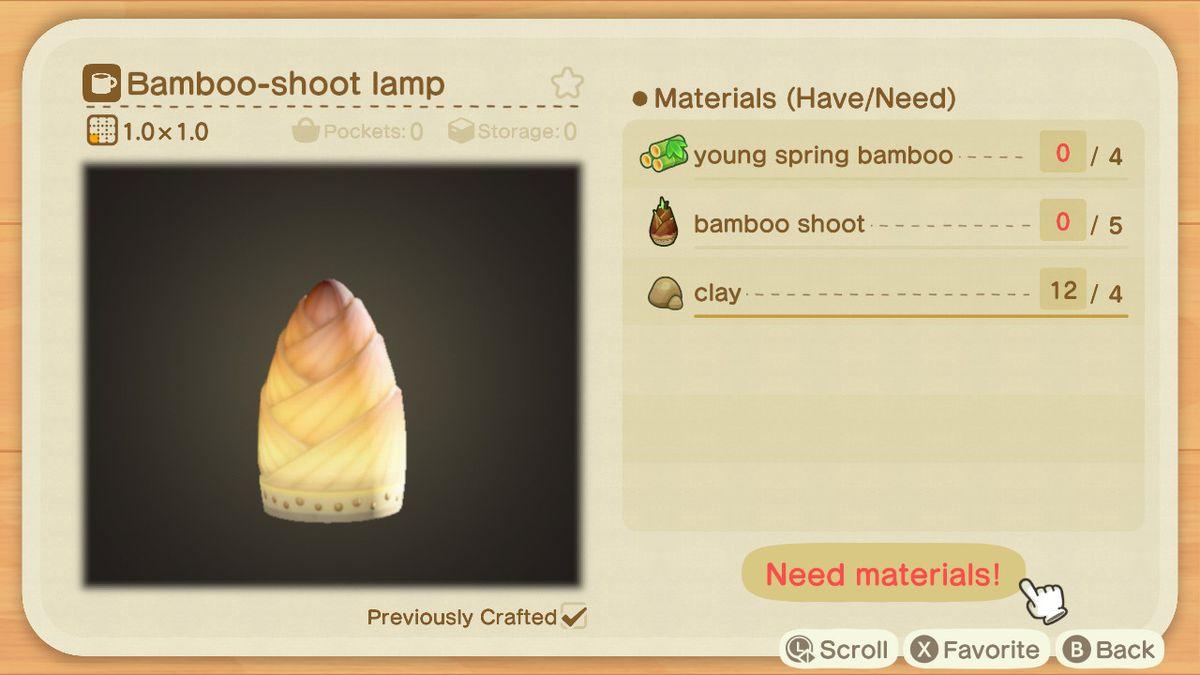 Un criadero de Animal Crossing para una lámpara de bambú