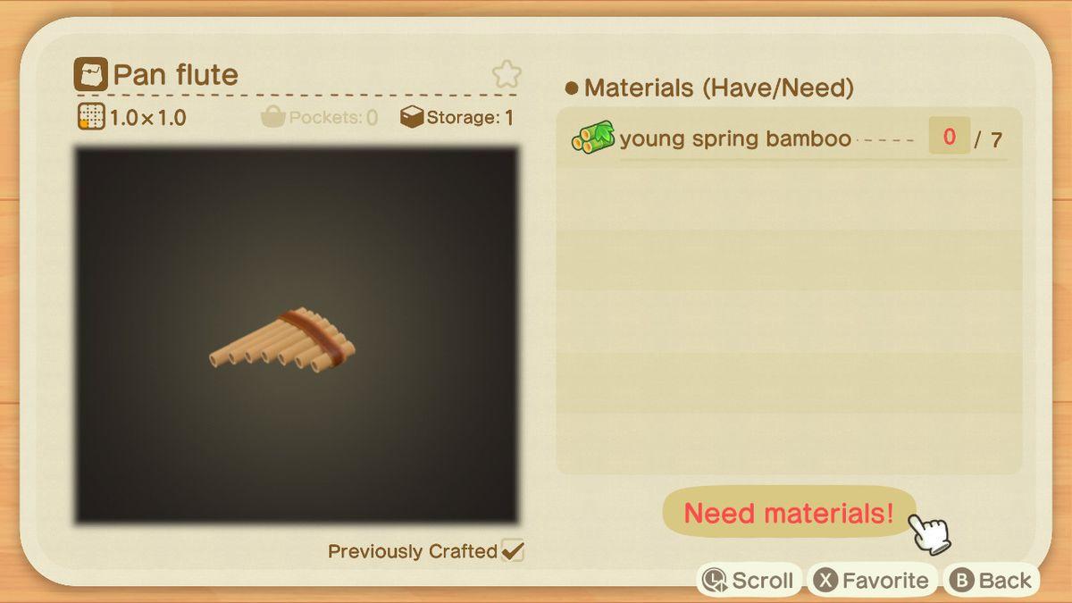 Una pantalla de reproducción de Animal Crossing para una flauta de pan