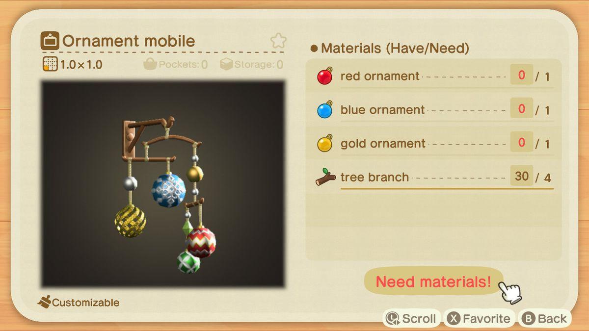 Una receta de Animal Crossing para un móvil de adornos
