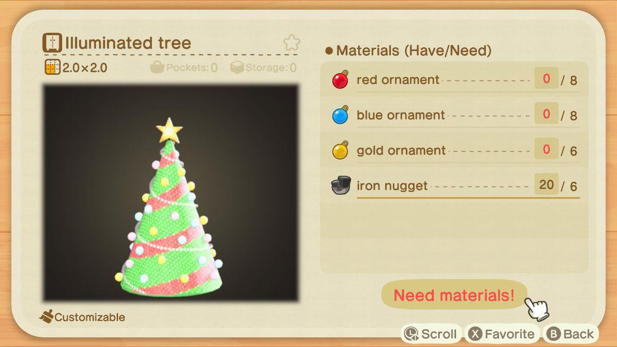 Una receta de Animal Crossing para un árbol iluminado