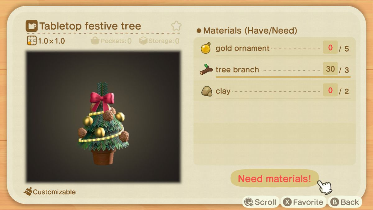 Una receta de Animal Crossing para un árbol de mesa festivo