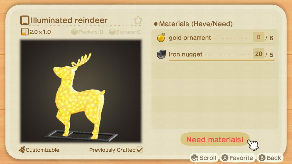 Una receta de Animal Crossing para un reno encendido