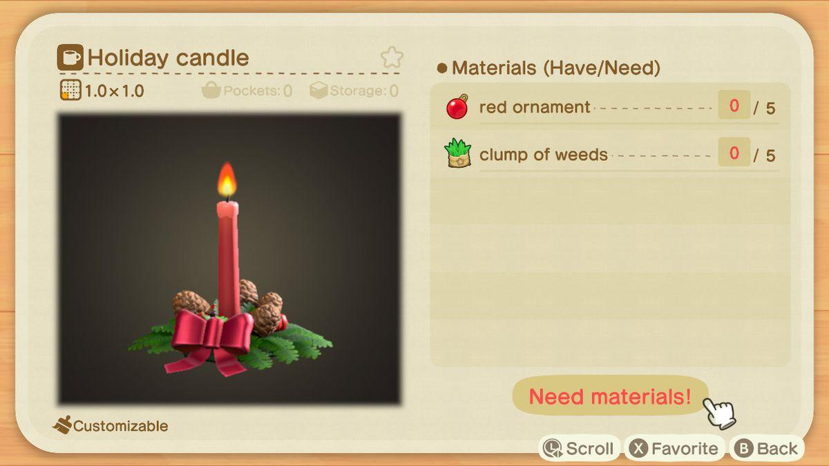 Una receta de Animal Crossing para una vela festiva