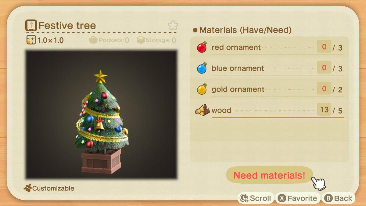 Una receta de Animal Crossing para un árbol festivo
