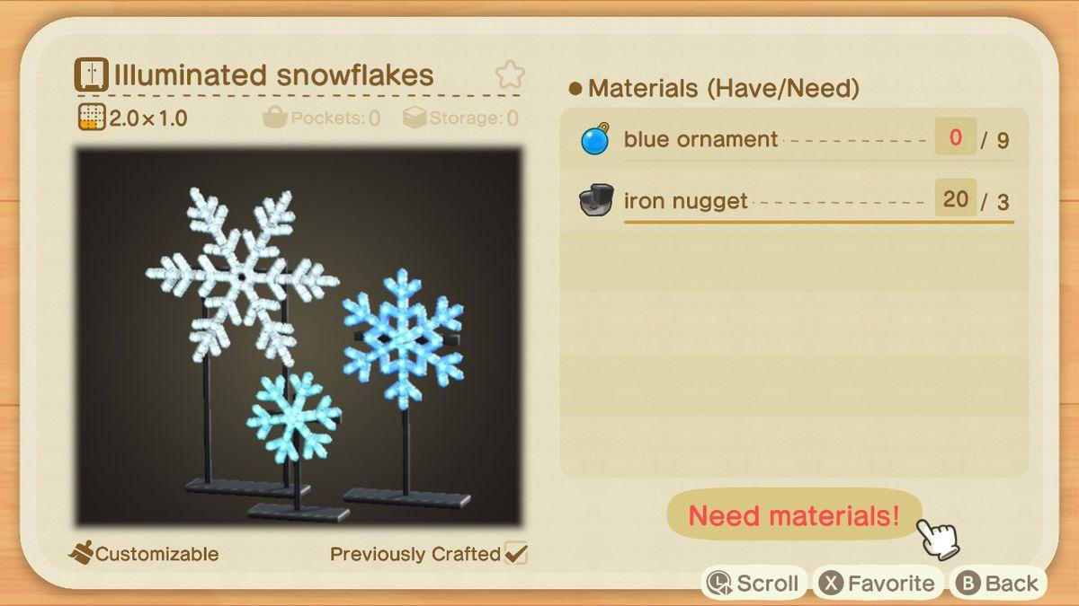 Una receta de Animal Crossing para copos de nieve iluminados