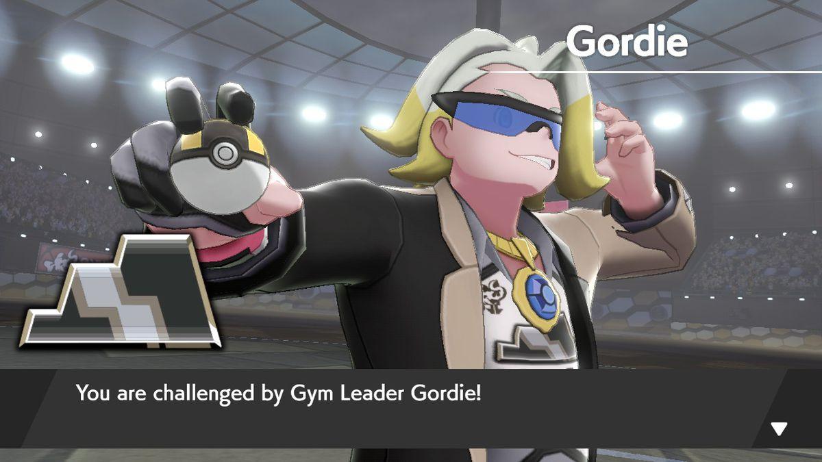Gordie, el líder del gimnasio Circhester en Pokémon Sword, se prepara para la batalla