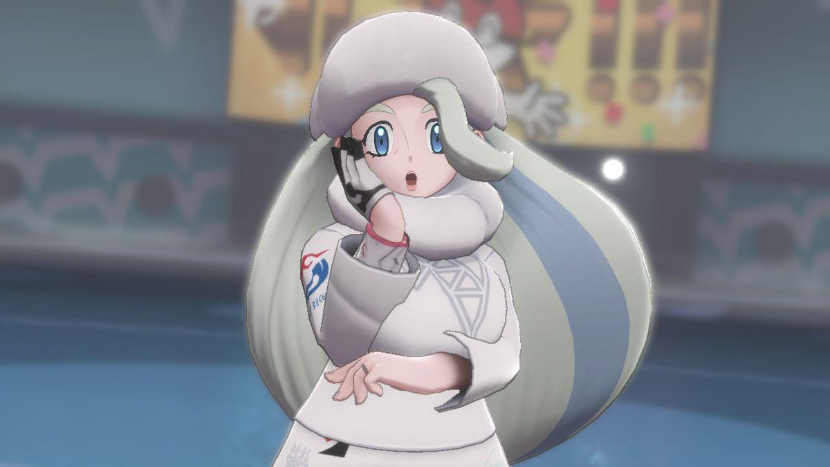 Melony, líder del gimnasio de hielo Cirony, posa en Pokémon Shield