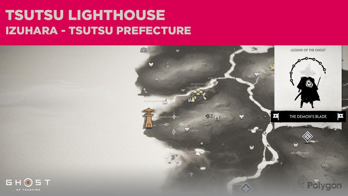 La ubicación del faro en Tsutsu en Ghost of Tsushima