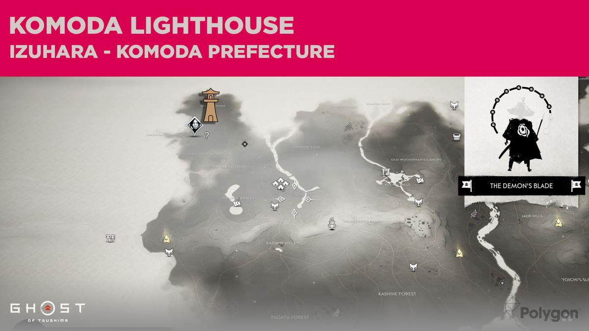 La ubicación del faro de Komoda en Ghost of Tsushima