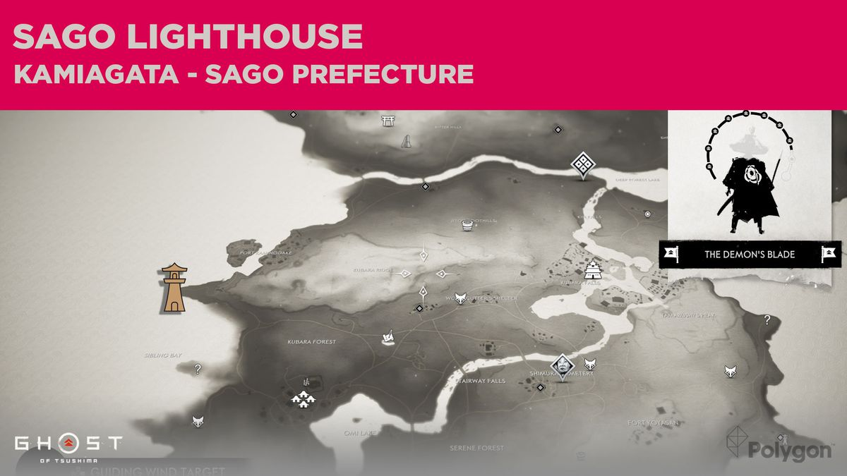 La ubicación del faro de Sago en Ghost of Tsushima