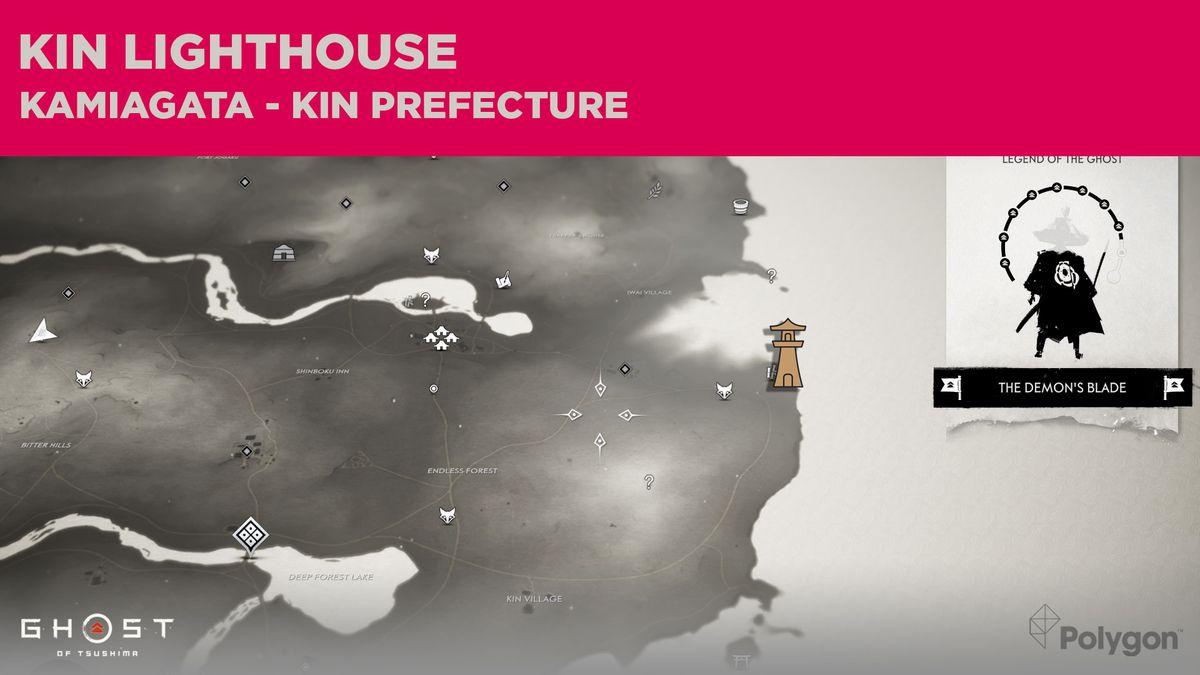 La ubicación del faro de Kin en Ghost of Tsushima
